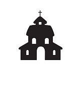 Church flat silhouette vector isolated on white