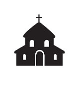 Church icon building flat isolated on white