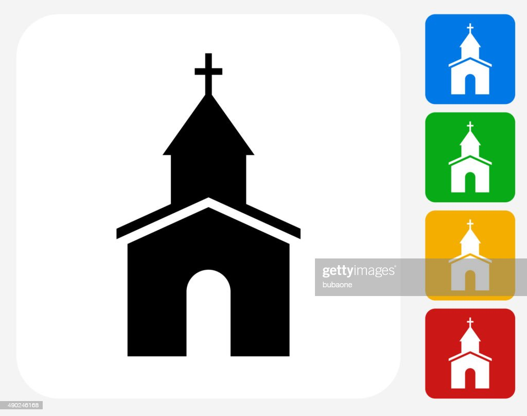 Church Icon Flat Graphic Design