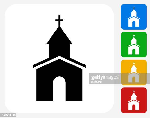 church icon flat graphic design - chapel stock illustrations, clip art, cartoons, & icons