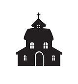 church icon house icon vector illustration isolated on white