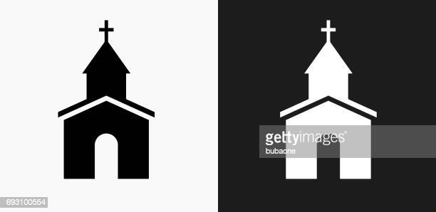 church icon on black and white vector backgrounds - church stock illustrations