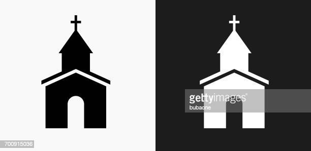 church icon on black and white vector backgrounds - chapel stock illustrations, clip art, cartoons, & icons