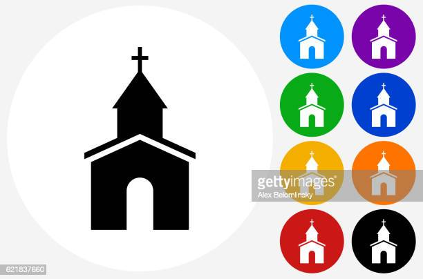 church icon on flat color circle buttons - church stock illustrations, clip art, cartoons, & icons