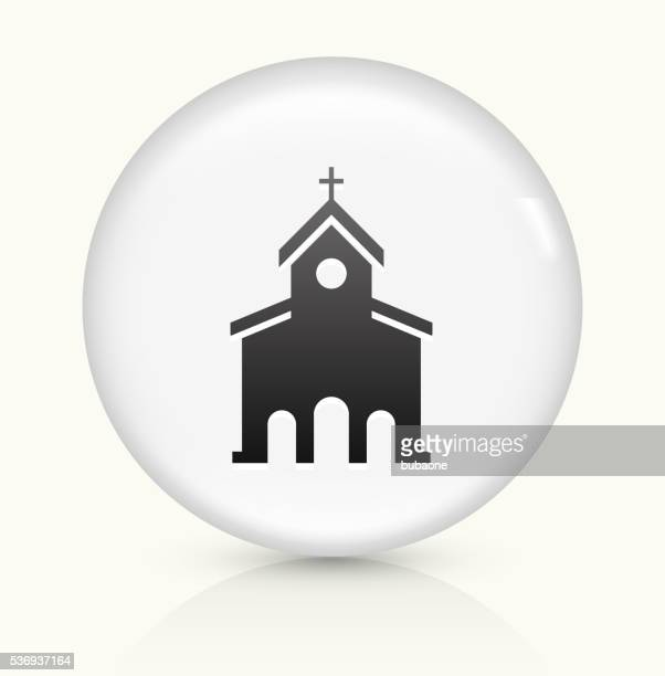 stockillustraties, clipart, cartoons en iconen met church icon on white round vector button - torenspits