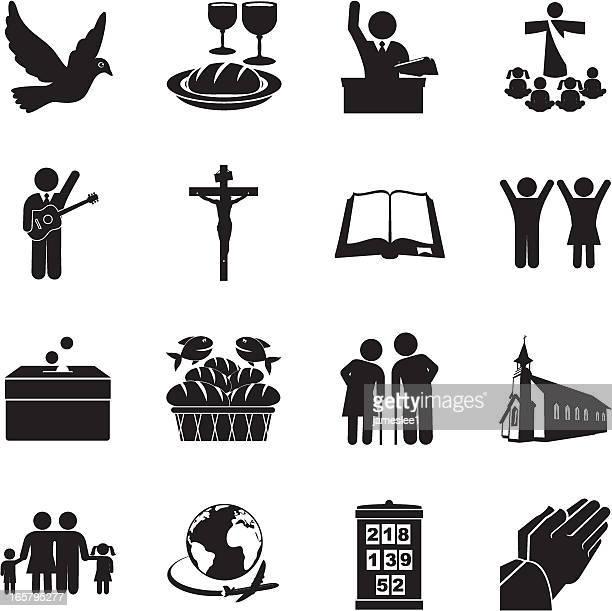 church icon set - image technique stock illustrations