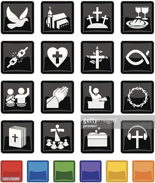 ilustraciones, imágenes clip art, dibujos animados e iconos de stock de iglesia del icono de - corona de espinas