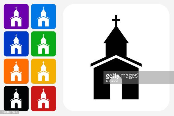 church icon square button set - chapel stock illustrations, clip art, cartoons, & icons