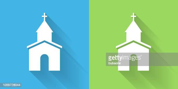 church icon with long shadow - church stock illustrations, clip art, cartoons, & icons