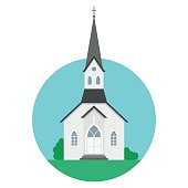 Church in flat style