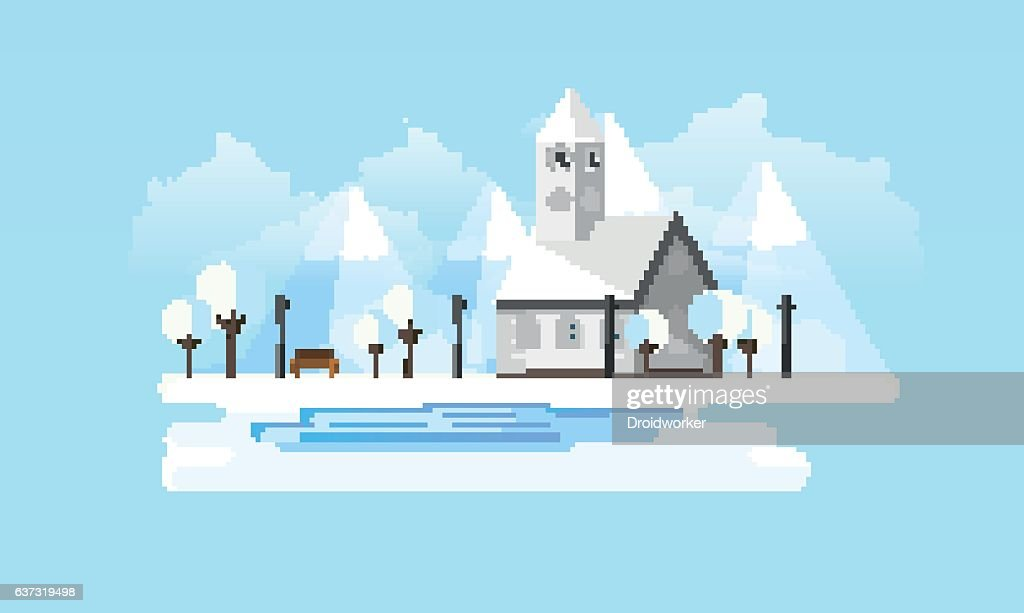 Church in Winter Abstract Landscape in Flat Design Style.