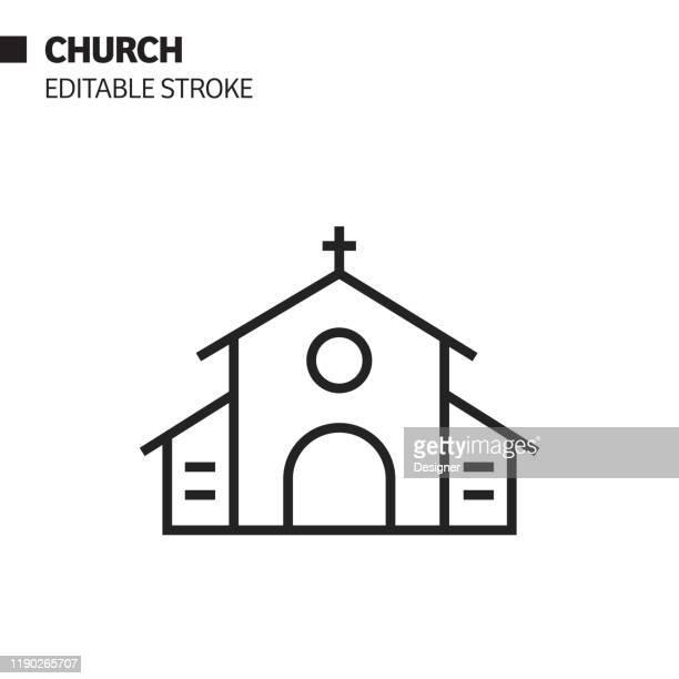 チャーチラインアイコン、アウトラインベクトルシンボルイラスト。ピクセルパーフェクト、編集可能なストローク。 - 礼拝堂点のイラスト素材/クリップアート素材/マンガ素材/アイコン素材