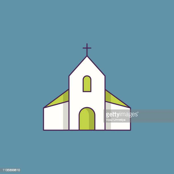 church line icon - chapel stock illustrations, clip art, cartoons, & icons