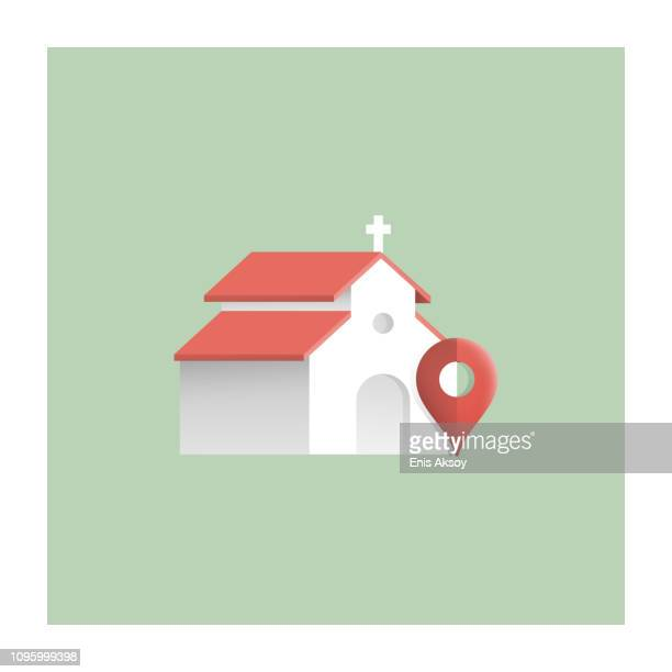 church location icon - chapel stock illustrations, clip art, cartoons, & icons