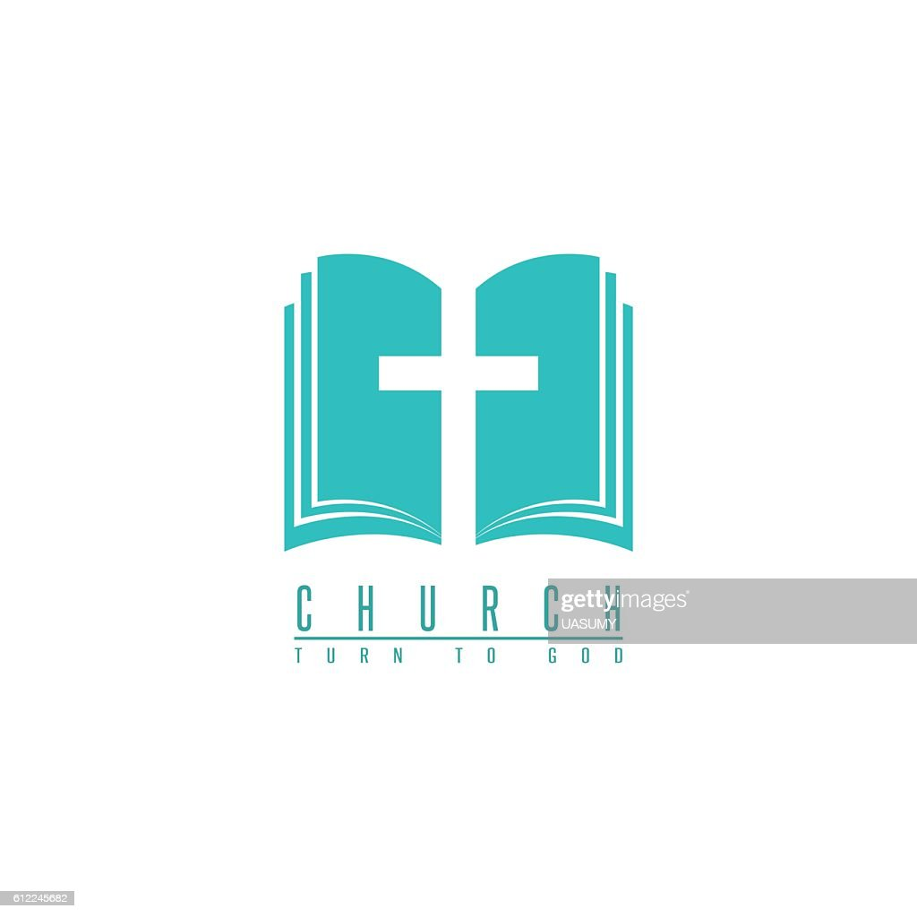 Church logo, cross and abstract bible religion symbol, faith icon