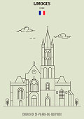 Church of St-Pierre-du-Queyroix in Limoges, France. Landmark icon