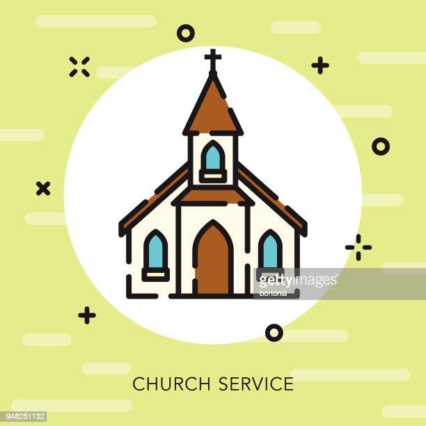 church open outline easter icon - steeple stock illustrations, clip art, cartoons, & icons