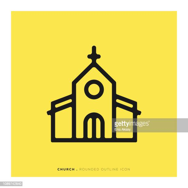 church rounded line icon - chapel stock illustrations