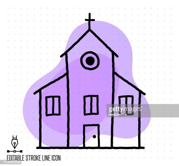 church schools vector editable line illustration - catholicism stock illustrations