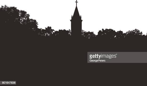 church steeple with cross - treelined stock illustrations, clip art, cartoons, & icons