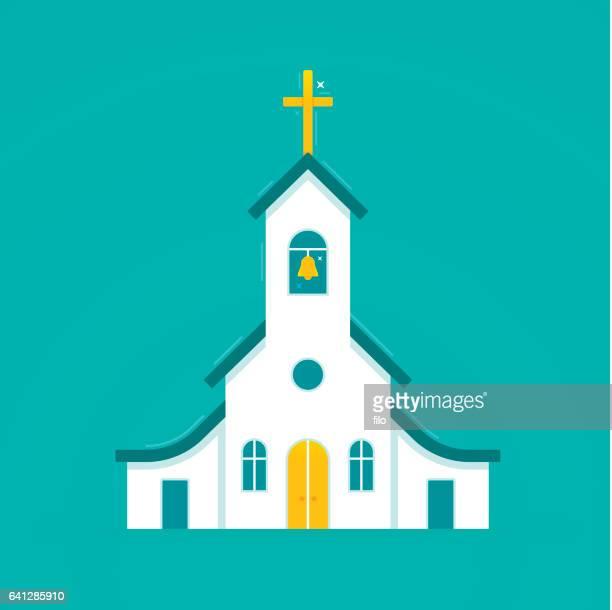 church symbol - steeple stock illustrations, clip art, cartoons, & icons