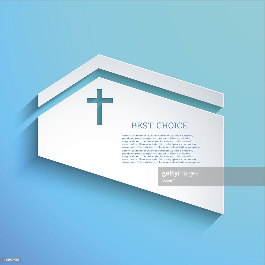 Church template in white with a cross cutout