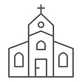Church thin line icon, Christmas concept, religious temple sign on white background, house of god icon in outline style for mobile concept and web design. Vector graphics.
