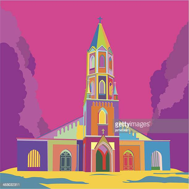 church - steeple stock illustrations, clip art, cartoons, & icons