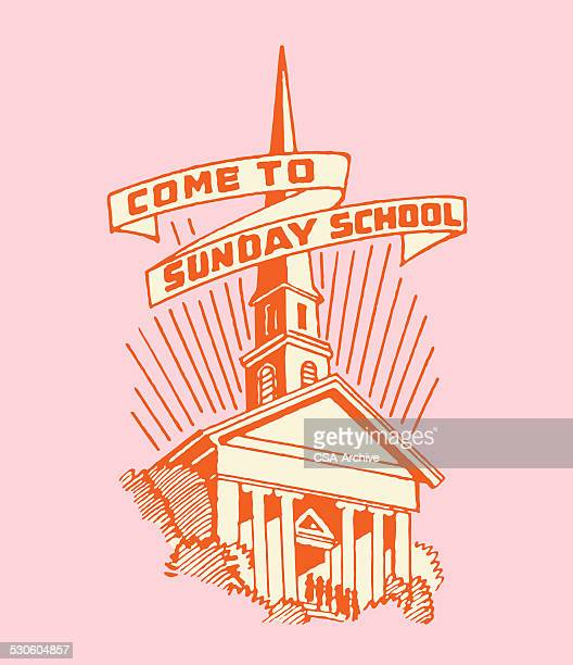 church with come to sunday school banner - church stock illustrations, clip art, cartoons, & icons