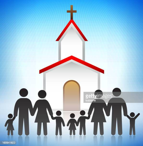 church with the family concept stick figures - congregation stock illustrations