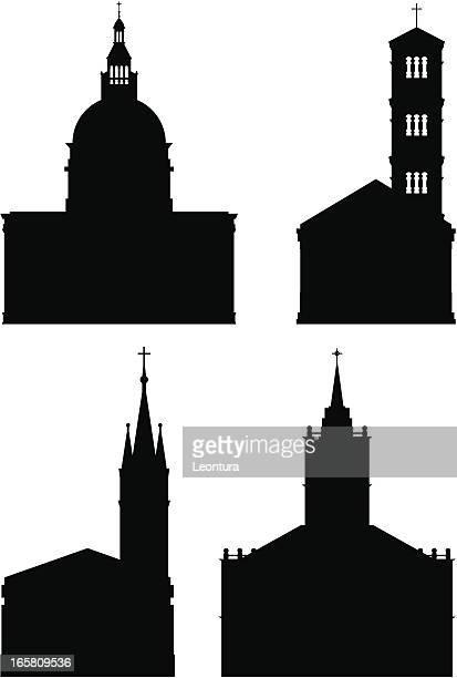 churches - steeple stock illustrations, clip art, cartoons, & icons