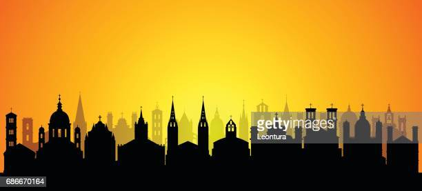 churches (all buildings are separate and complete) - spire stock illustrations, clip art, cartoons, & icons