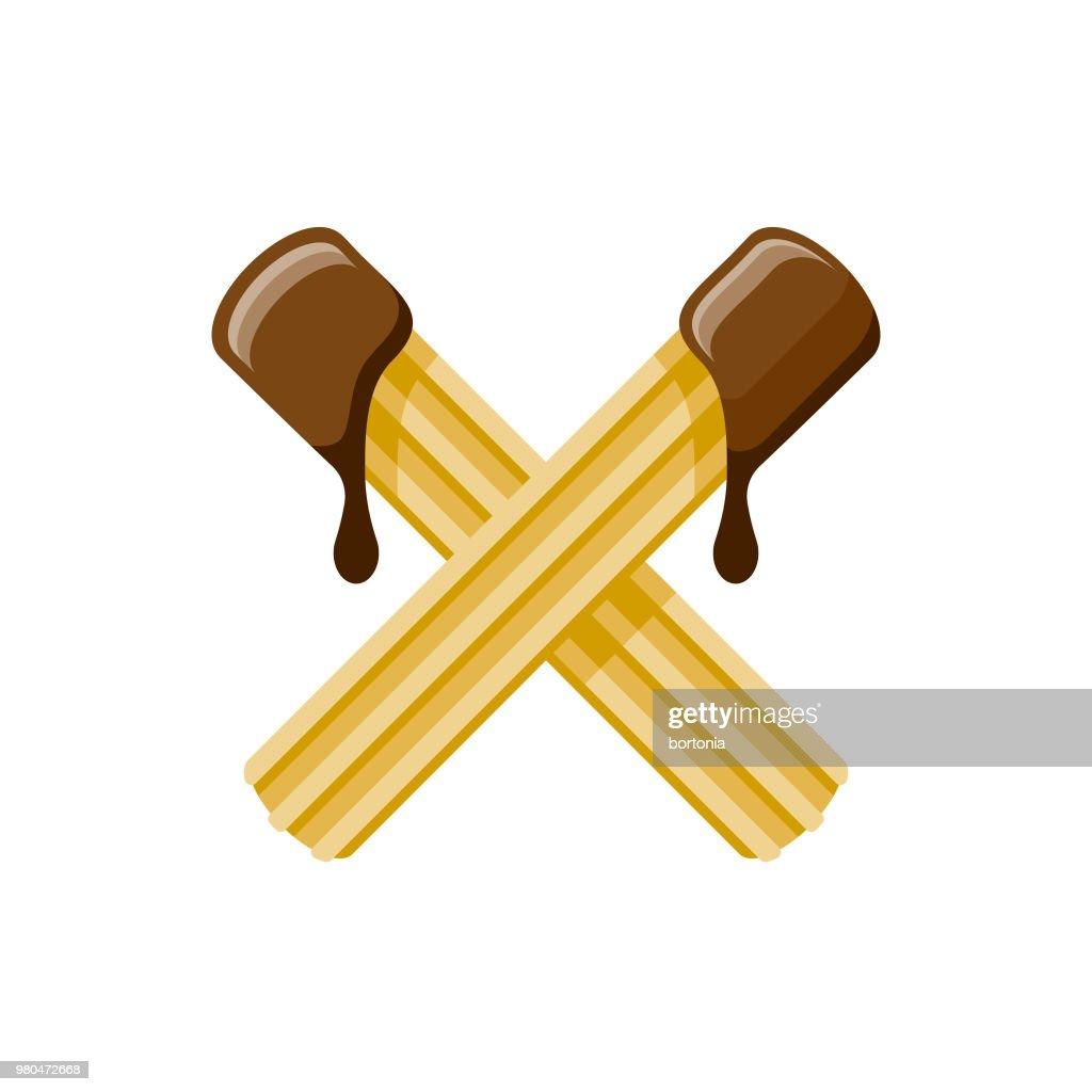 Ícone de sobremesa churros Design plano : Ilustração