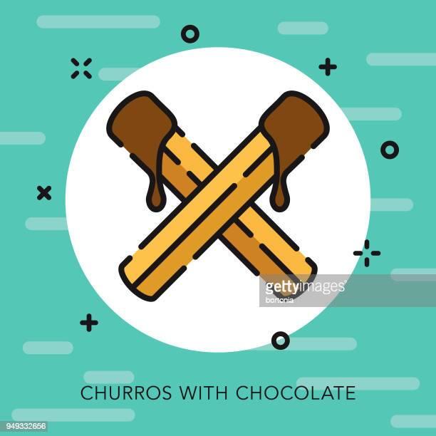 churros open outline cinco de mayo icon - churro stock illustrations, clip art, cartoons, & icons