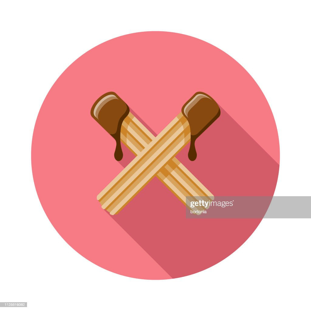 Churros With Chocolate Sauce Icon : Stock Illustration