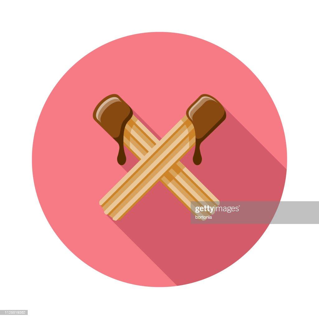 Churros com calda de Chocolate ícone : Ilustração