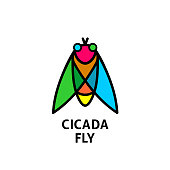 Cicada colorful symbol. Insect top view symbol.