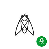 Cicada insect black outline icon. Line style fly symbol.