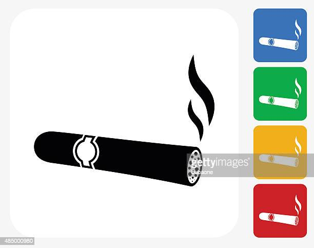 cigar icon flat graphic design - cuban culture stock illustrations, clip art, cartoons, & icons