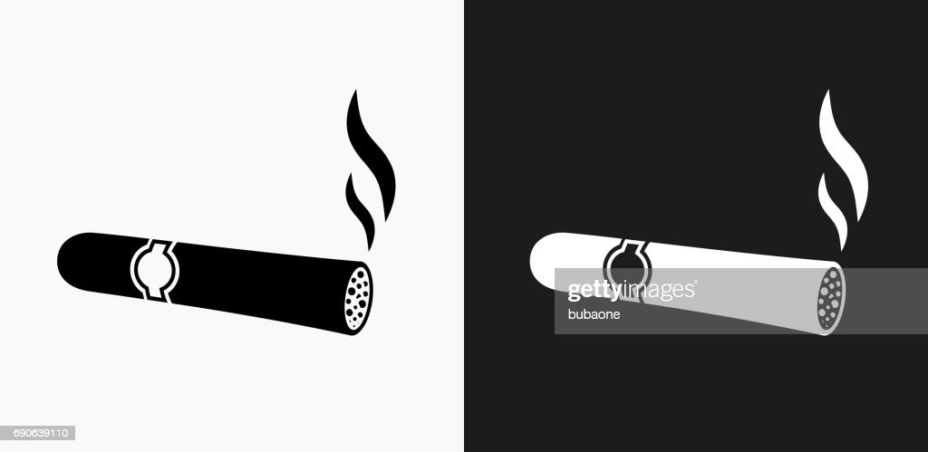 Cigar Icon on Black and White Vector Backgrounds