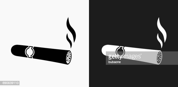 cigar icon on black and white vector backgrounds - cuban culture stock illustrations, clip art, cartoons, & icons