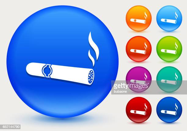 cigar icon on shiny color circle buttons - cuban culture stock illustrations, clip art, cartoons, & icons