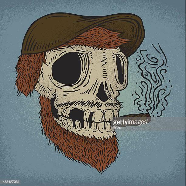 ilustraciones, imágenes clip art, dibujos animados e iconos de stock de cigar cráneo - fumar marihuana