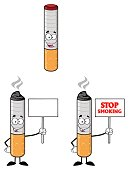 Cigarette Cartoon Mascot Character 3. Collection Set