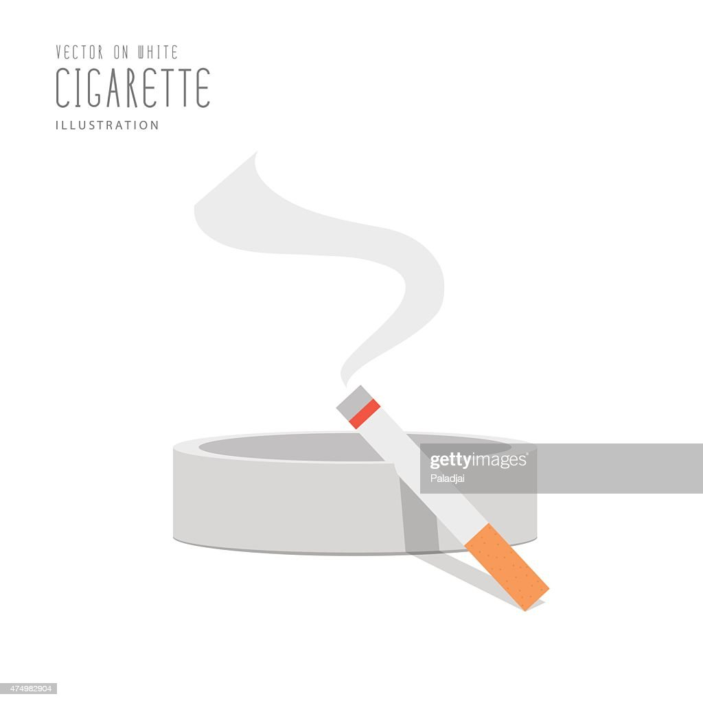 Cigarette on the ashtray flat vector.