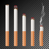 Cigarette Set Vector. Realistic Cigarette Butt. Different Stages Of Burn. Isolated Illustration. Burning Classic Smoking Cigarette On Transparent Background