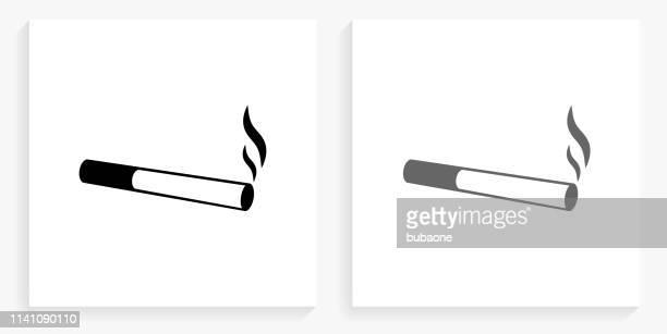 ilustraciones, imágenes clip art, dibujos animados e iconos de stock de fumar cigarrillos cuadrado blanco y negro icono - cigarrillo