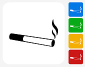 Cigarette Smoking Icon Flat Graphic Design
