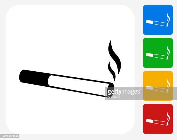 cigarette smoking icon flat graphic design - smoke physical structure stock illustrations, clip art, cartoons, & icons