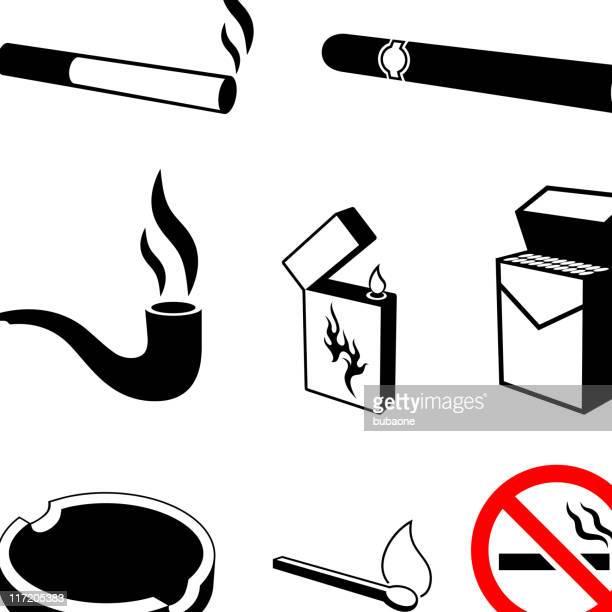 ilustraciones, imágenes clip art, dibujos animados e iconos de stock de fumar cigarrillos y negro & conjunto de iconos de vector blanco - smoke